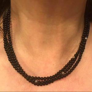 Jewelry - 3 strand sterling silver and black onyx necklace